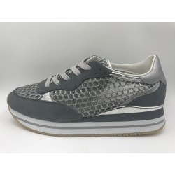 Sneakers Crime London Dynamic grey silver leather