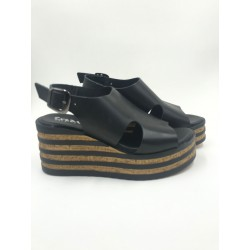 Made in Italy black real leather sandals