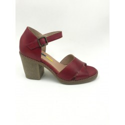 Made in Italy red real leather sandals