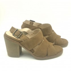 Made in Italy red taupe suede sandals