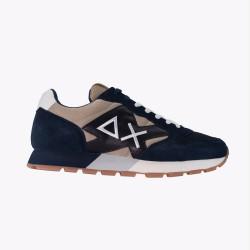 Sneakers Yaki nylon mesh patch blue marine and light brown
