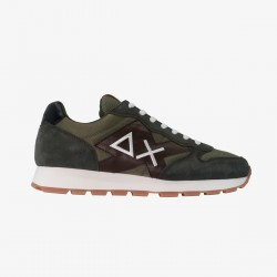 Sneakers Yaki nylon mesh army green and patch brown