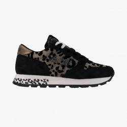 Shoes Sun 68 Runner woman solid nylon animalier black