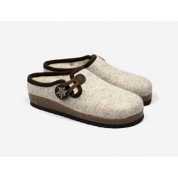 Boiled wool slippers woman ecrù