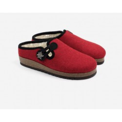 Boiled wool slippers woman Red