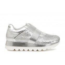 Sneakers Cafenoir silver metalllic leather